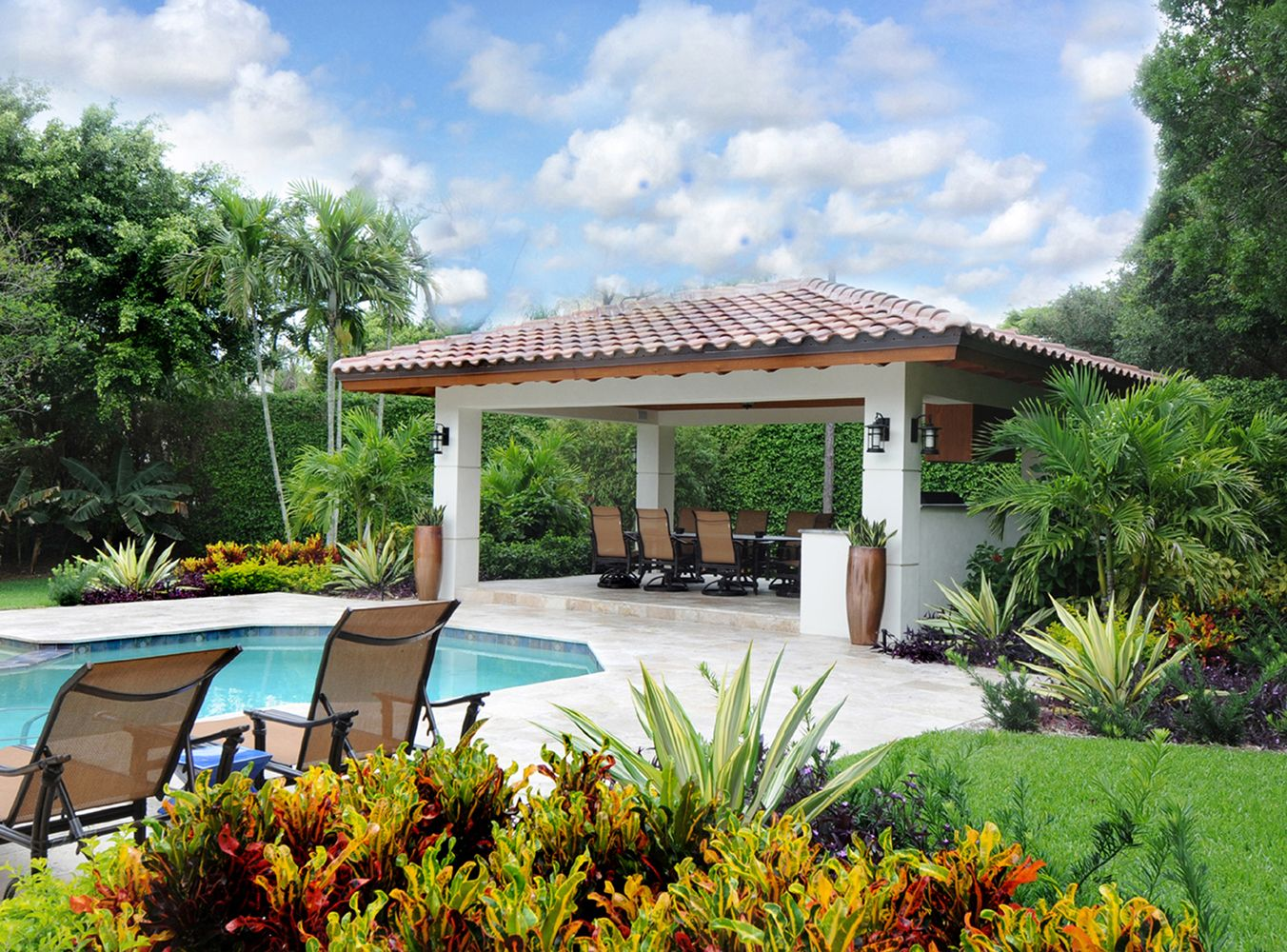 Long lasting tropical shrubs and accents this beautiful for Pool design boca raton
