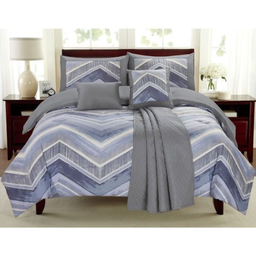 Best New Twin Full Queen Bed Blue Gray Grey Chevron 6 Pc 640 x 480