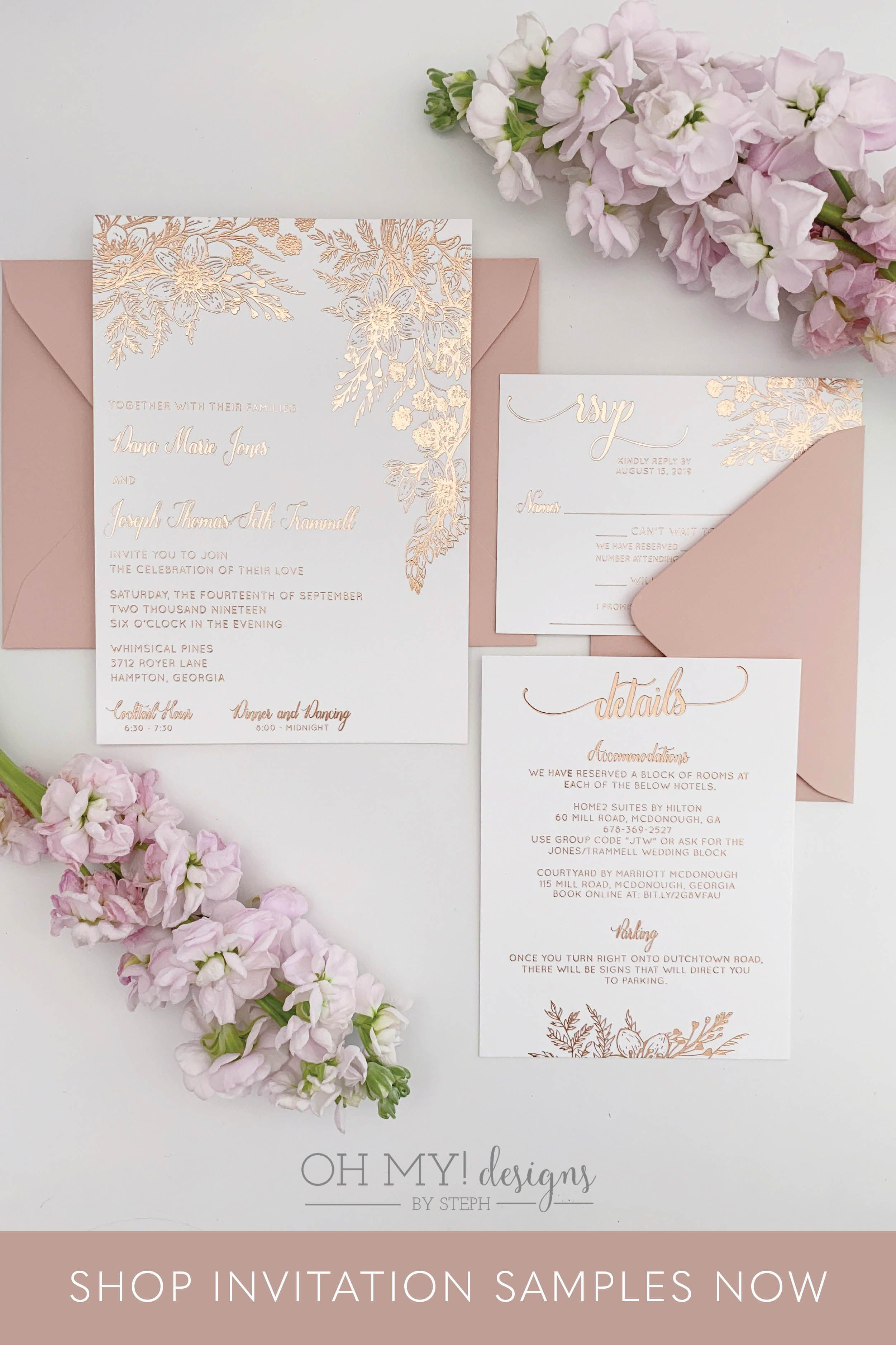 Rose Gold Wedding Invitations With Foil Florals Oh My Designs By Steph Rose Gold Wedding Invitations Gold Wedding Invitations Floral Wedding Invitations