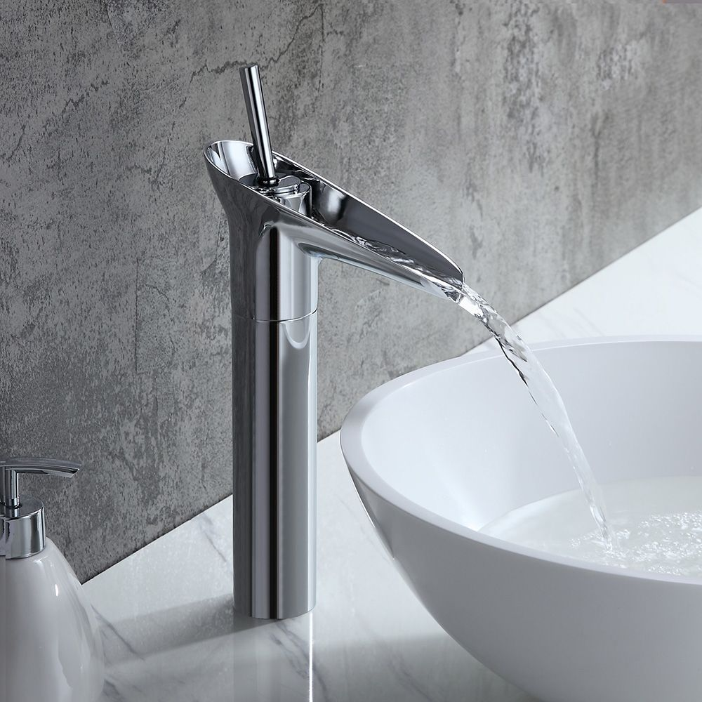 polished chrome tall vessel waterfall