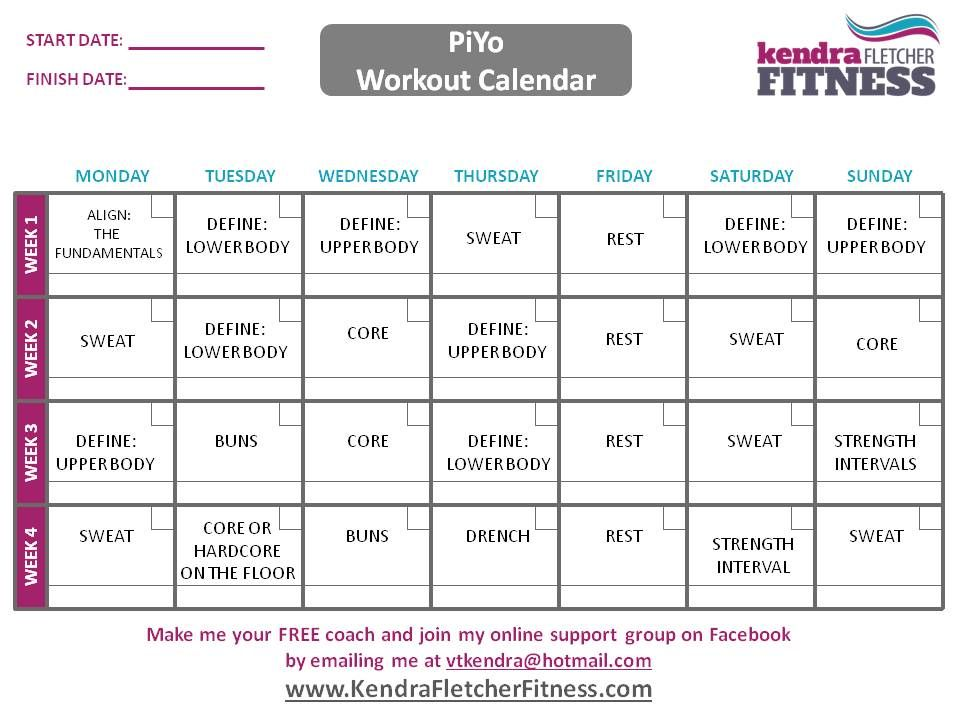 PiYo Schedule And Workout Calendar Fitness Pinterest Workout
