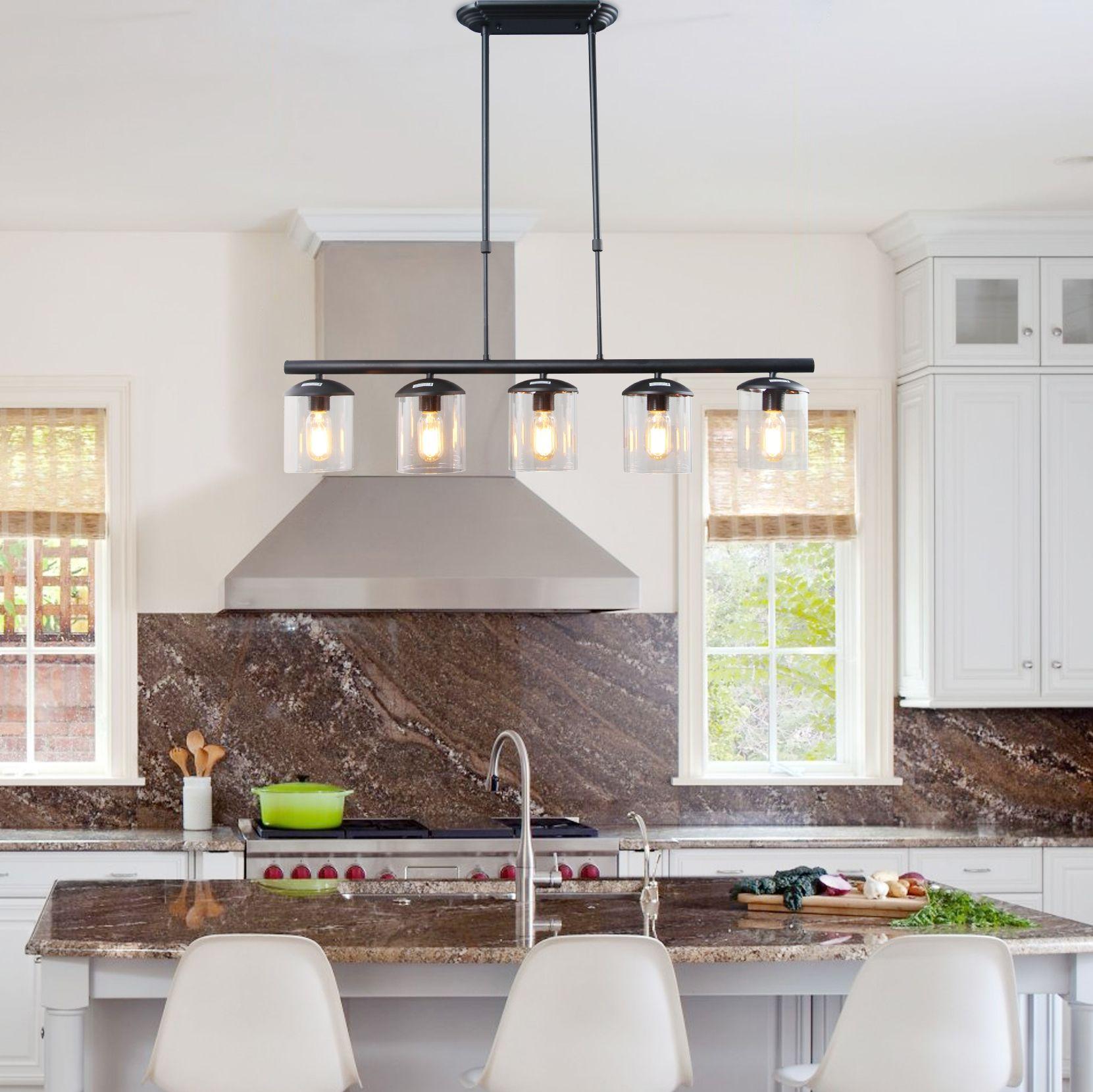Linear Modern Pendant 5 Lights Kitchen Island Lighting Island Lighting Dream Kitchens Design