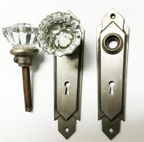 Antique 1920 S Art Deco Glass Doorknob Set 533025 Etsy Art Deco Glass 1920s Art Deco Antique Hardware