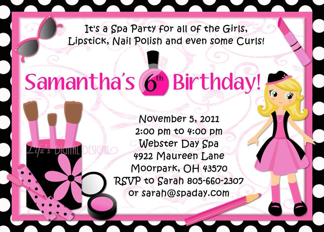 Spa Party Birthday Invitations Glamour Girl Beauty Day Polka Dots or