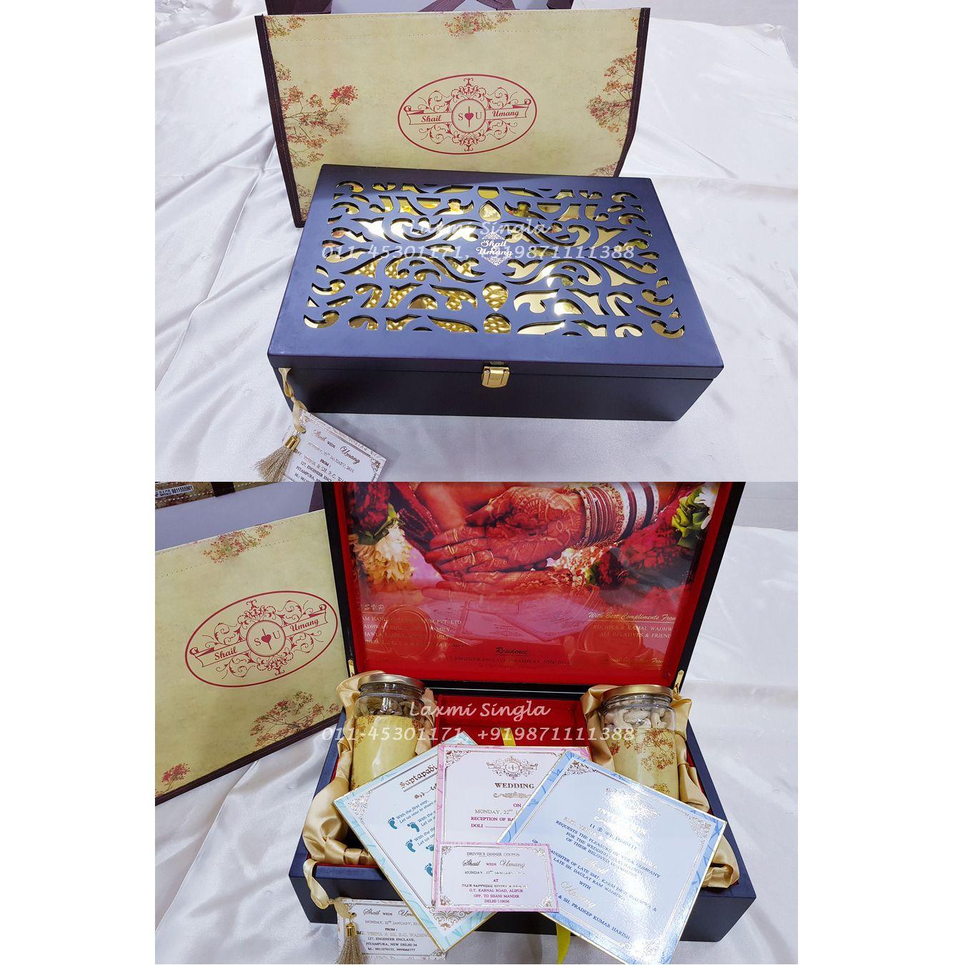 Designer Wedding Card Box with rich Deco Polish finishing