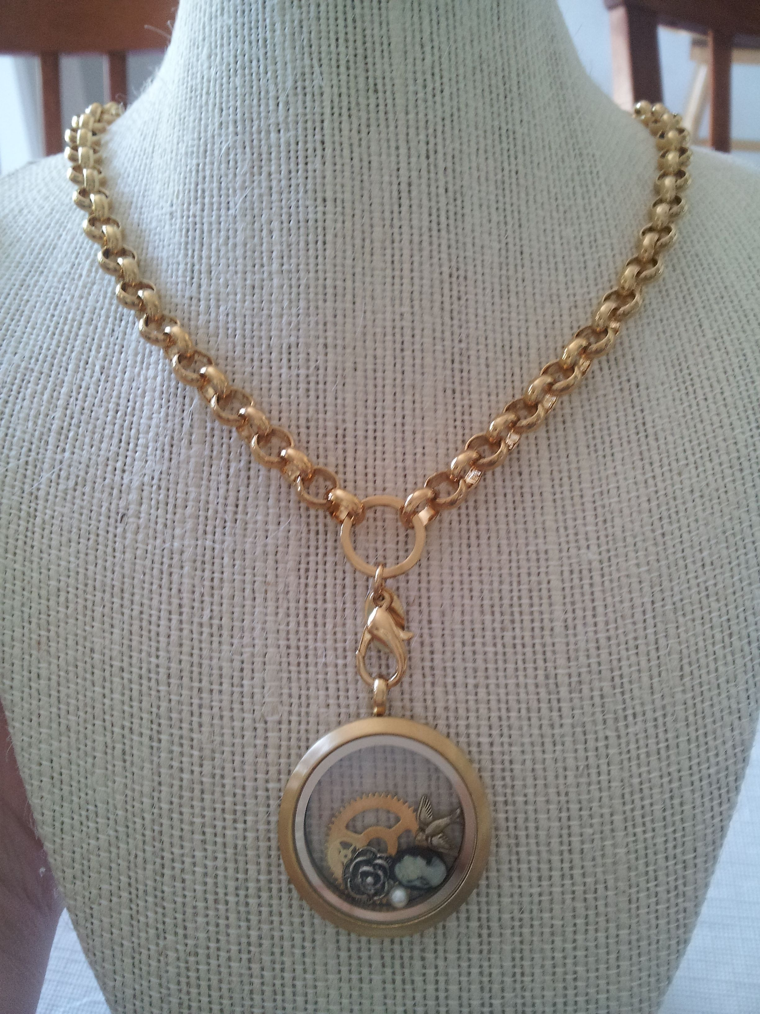 gold necklace large lockets product side view heart locket