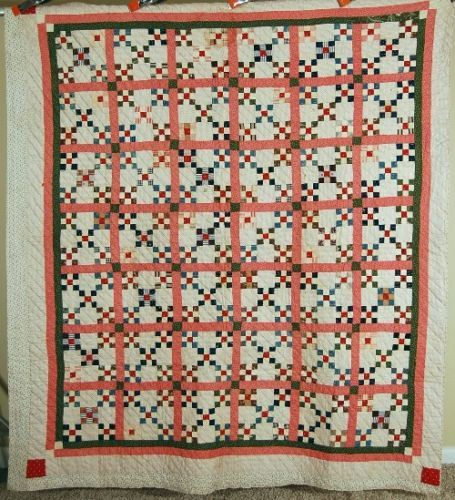 Vintage-1890s-Double-9-Patch-Burgoyne-Surrounded-Antique-Quilt-SMALL-PIECES