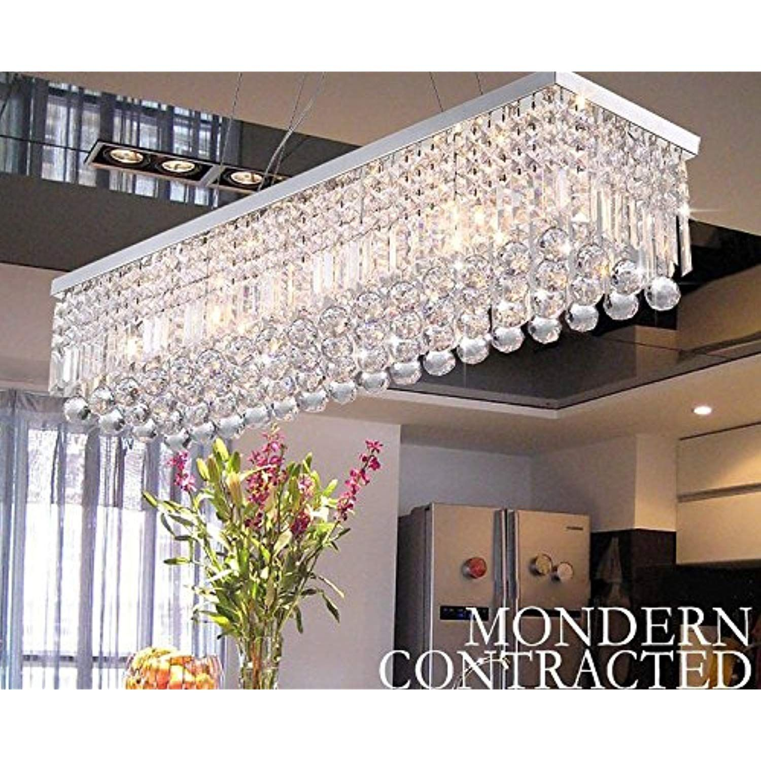 Crystop rectangle crystal chandeliers dining room modern ceiling light fixtures polished chrome finish l31 5 x w9 8 x h8 9 click image to review