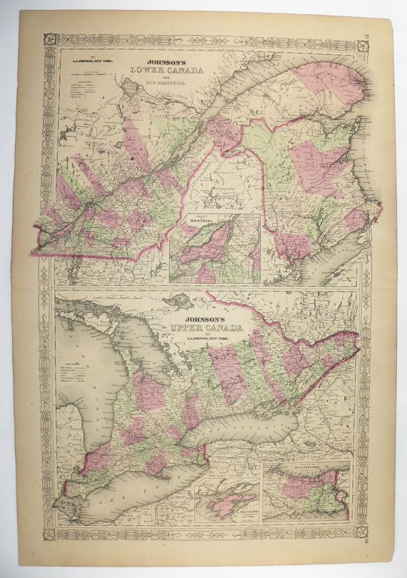 1867 Canada Map Quebec Ontario Map Johnson Map Canada 1st