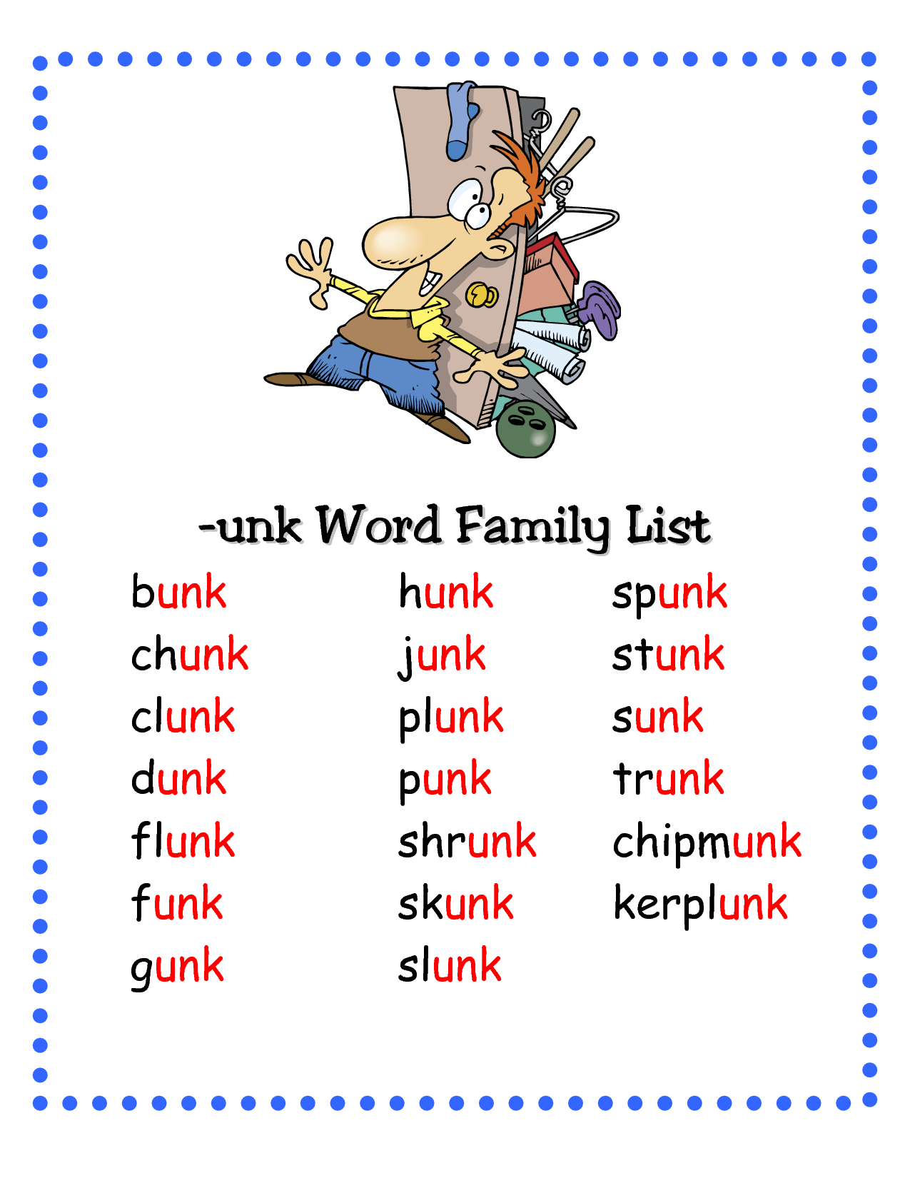Unk Word Family List