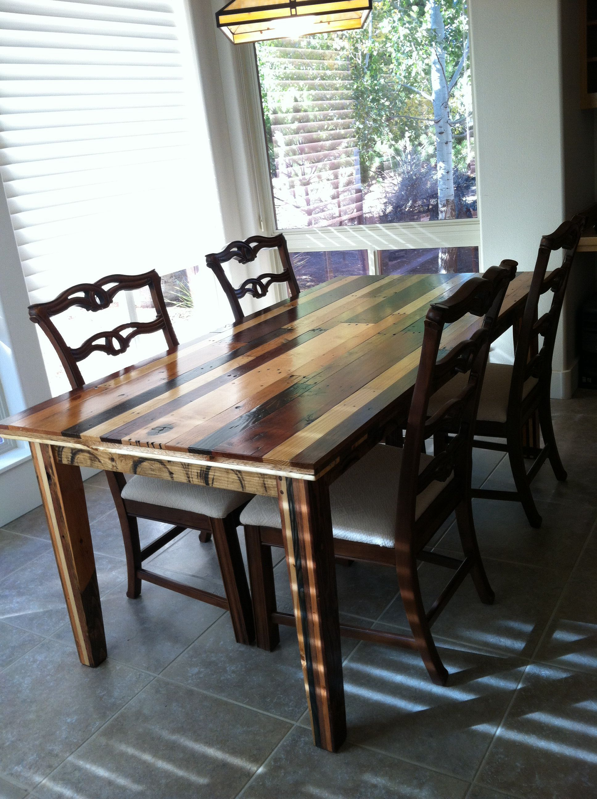 Dining room table made from pallet wood created by gregg for Reclaimed wood furniture bend oregon