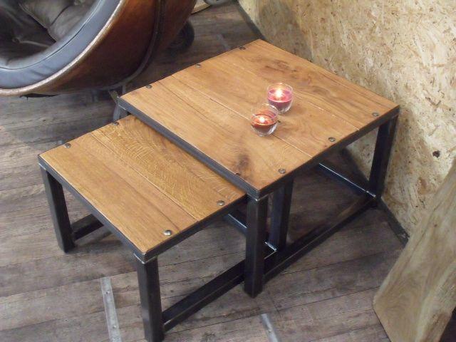 Table Basse Gigogne En Bois Et Métal Industriel Micheli Design
