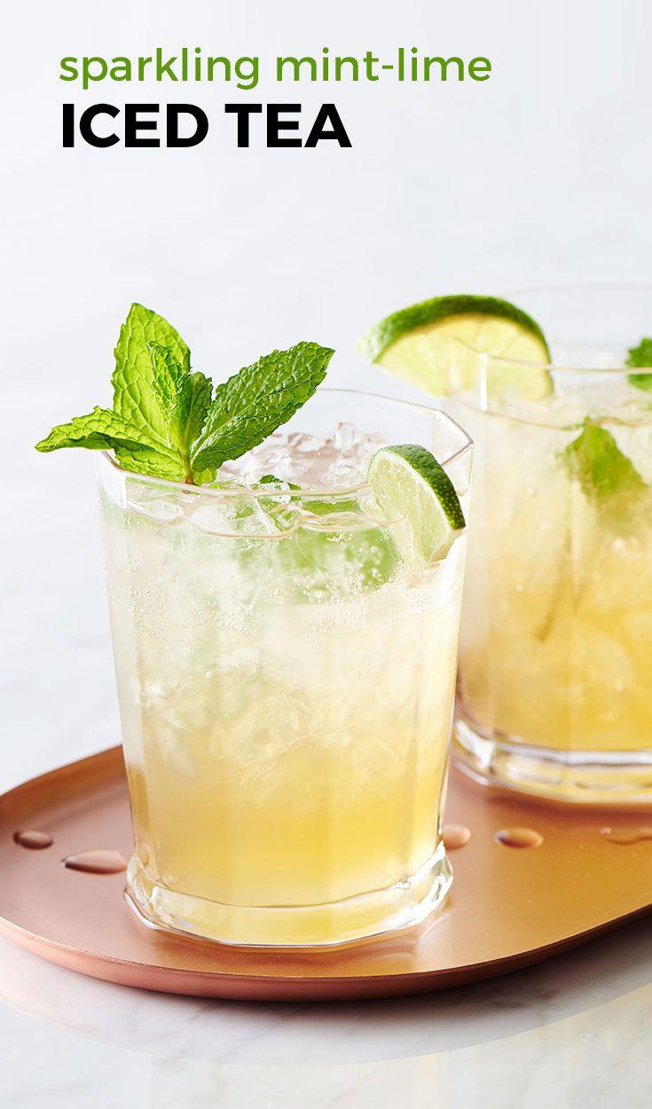 Sparkling Mint Lime Iced Tea Recipe Tea Recipes Mint Margarita Iced Tea