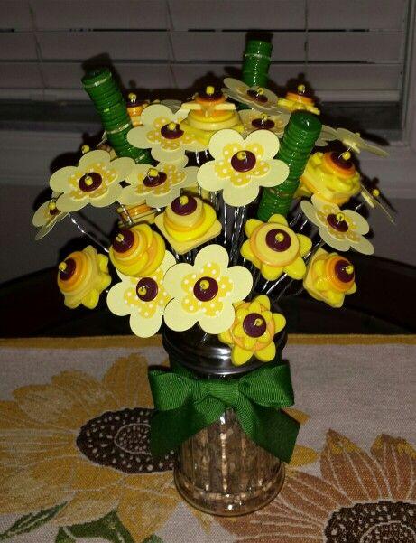 Sunflower button bouquet