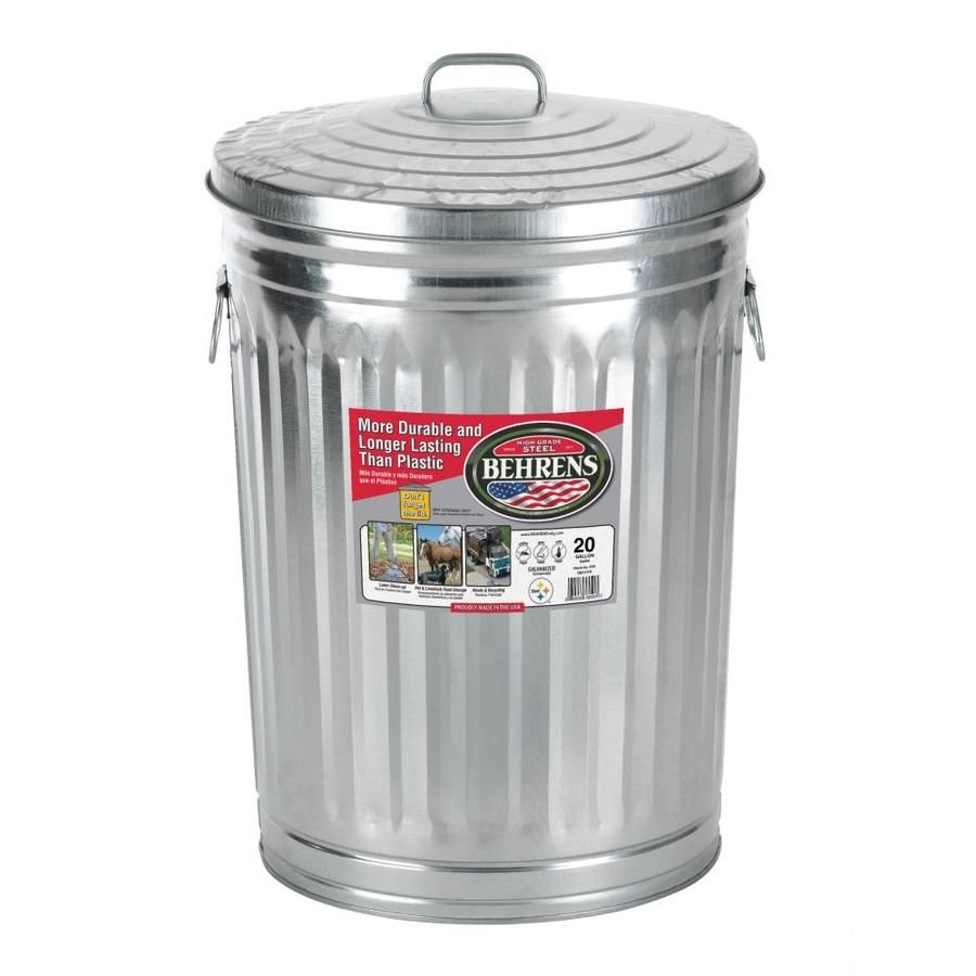 behrens steel 20-gallon silver/galvanized metal trash can