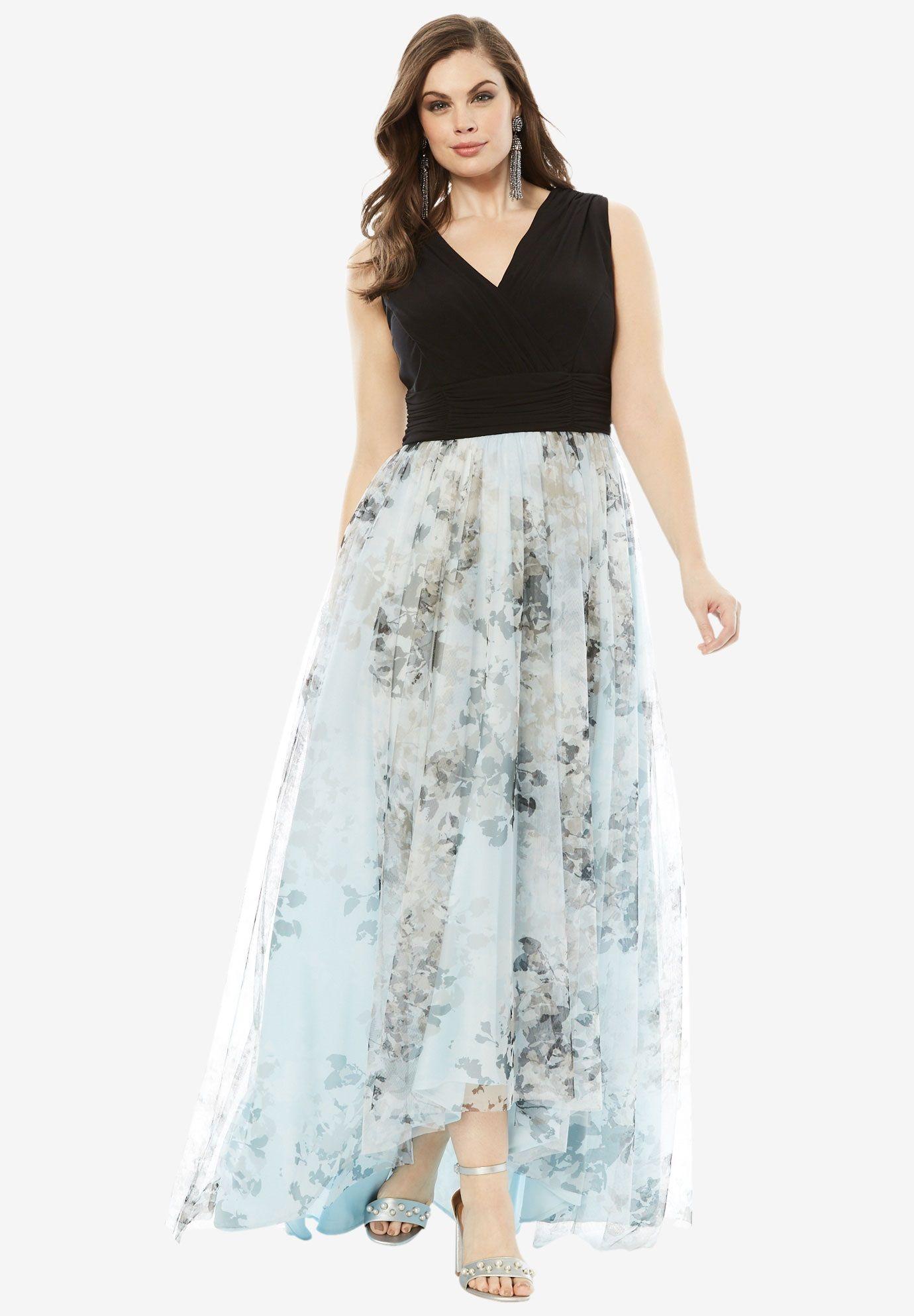 9edb9c4556bea Printed High Low Dress, BLUE FLORAL PRINT, hi-res | Wedding attire ...