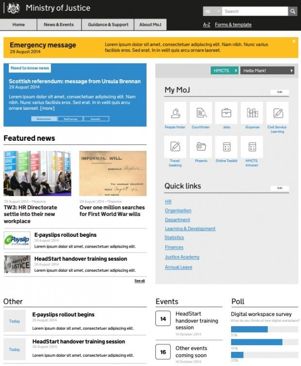 Intranet Site Map Example: Planned Home Page For Ministry Of Justice, Based On