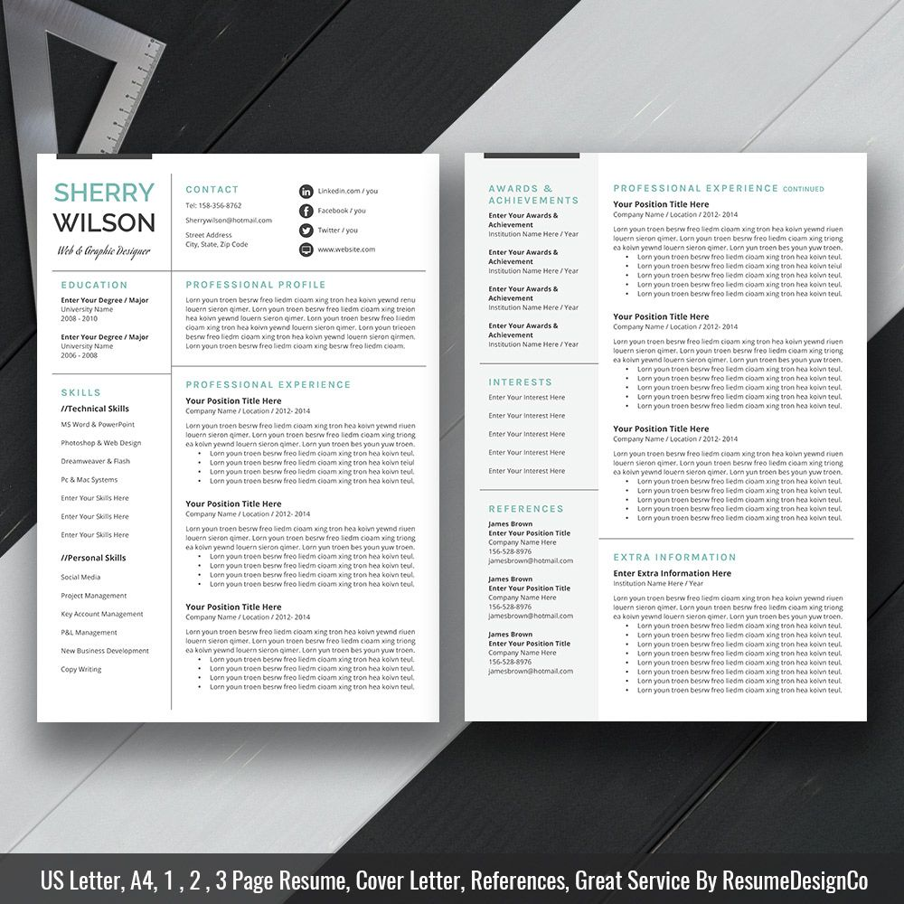 MS Word Resume Template, Cover Letter and References