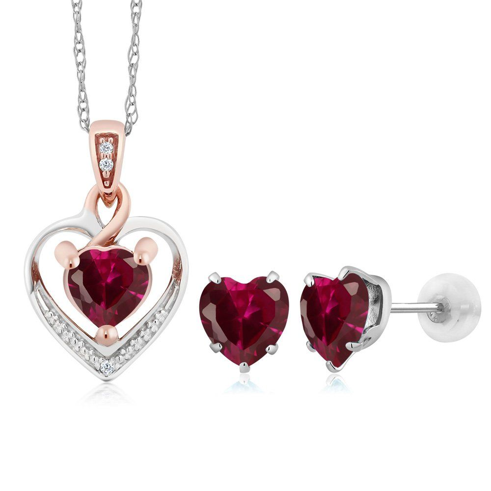 K white gold heart shape red created ruby and diamond pendant