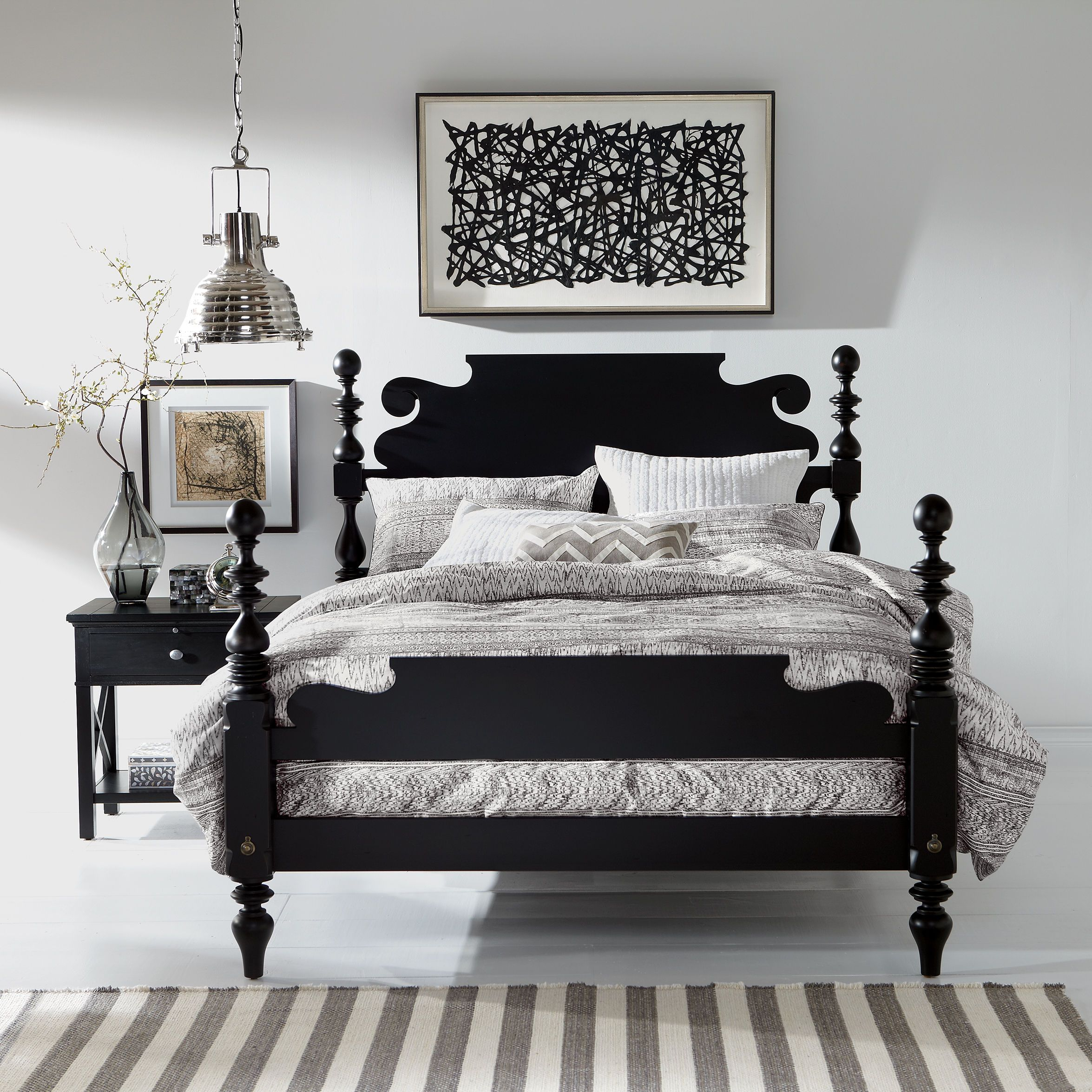 Black Paper Art Ethan Allen US Bed, Furniture, Bedroom