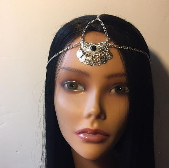 Silver coin black jeweled head Piece Glamour Hair Accessory | Etsy