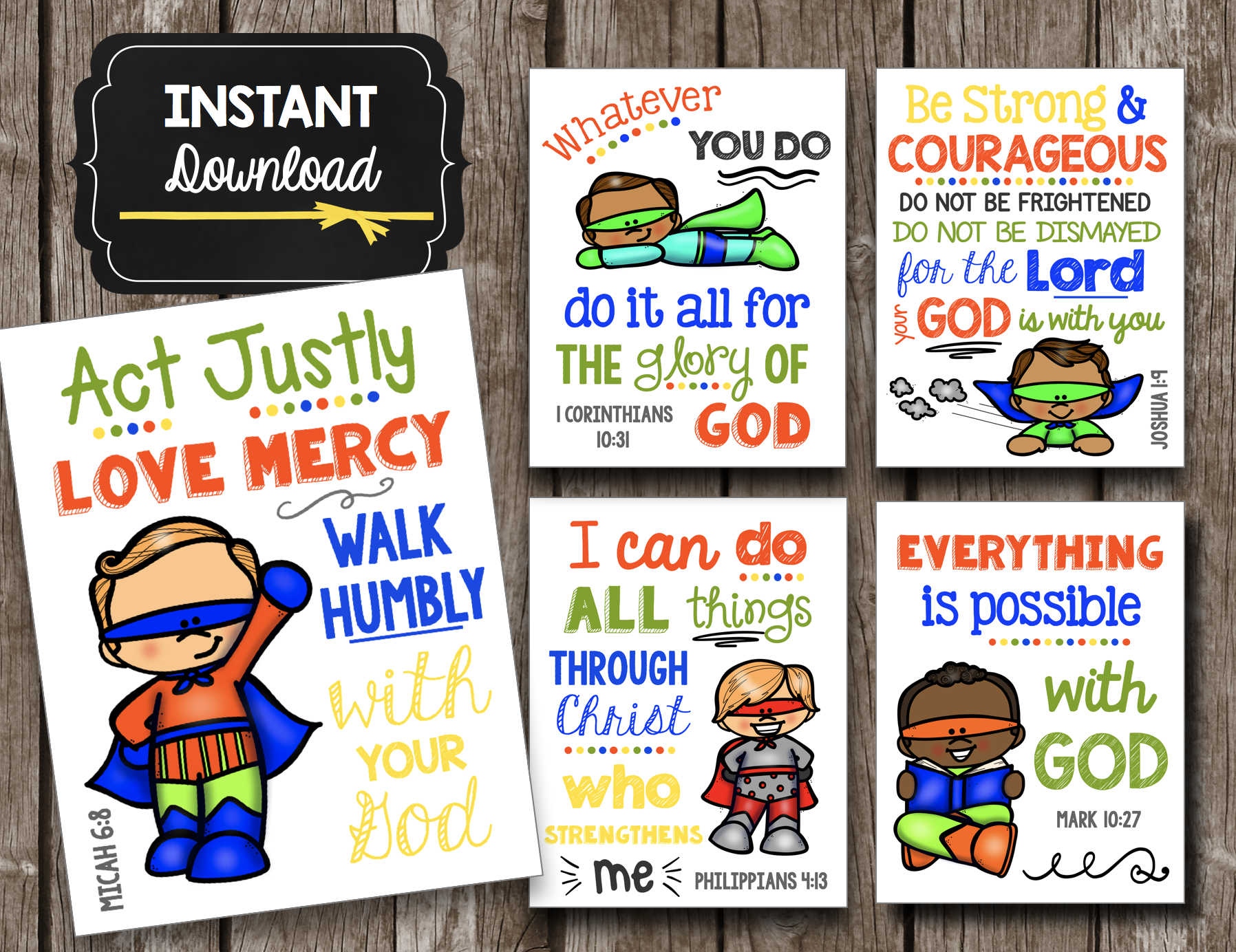 Superhero Kids Scripture Posters