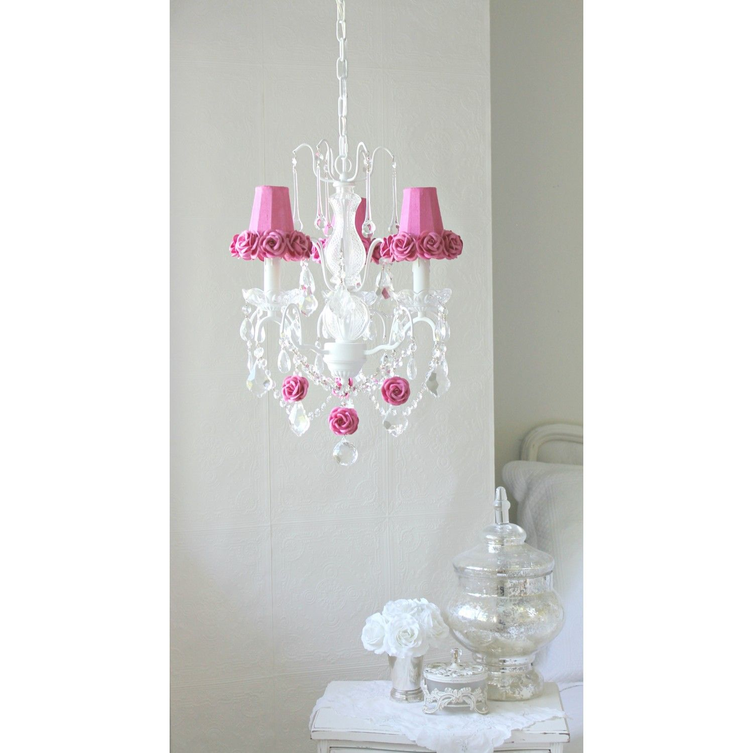 Hot Pink Rose Lamp Shade Chandelier