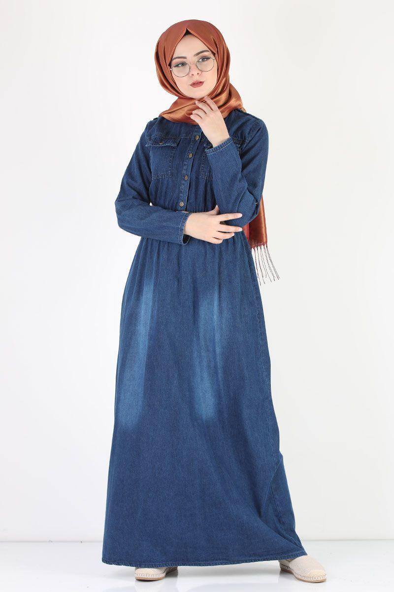 Beli Lastikli Tesettur Kot Elbise Tsd1104 Koyu Mavi 2020 Uzun Elbise Kot Elbiseler The Dress