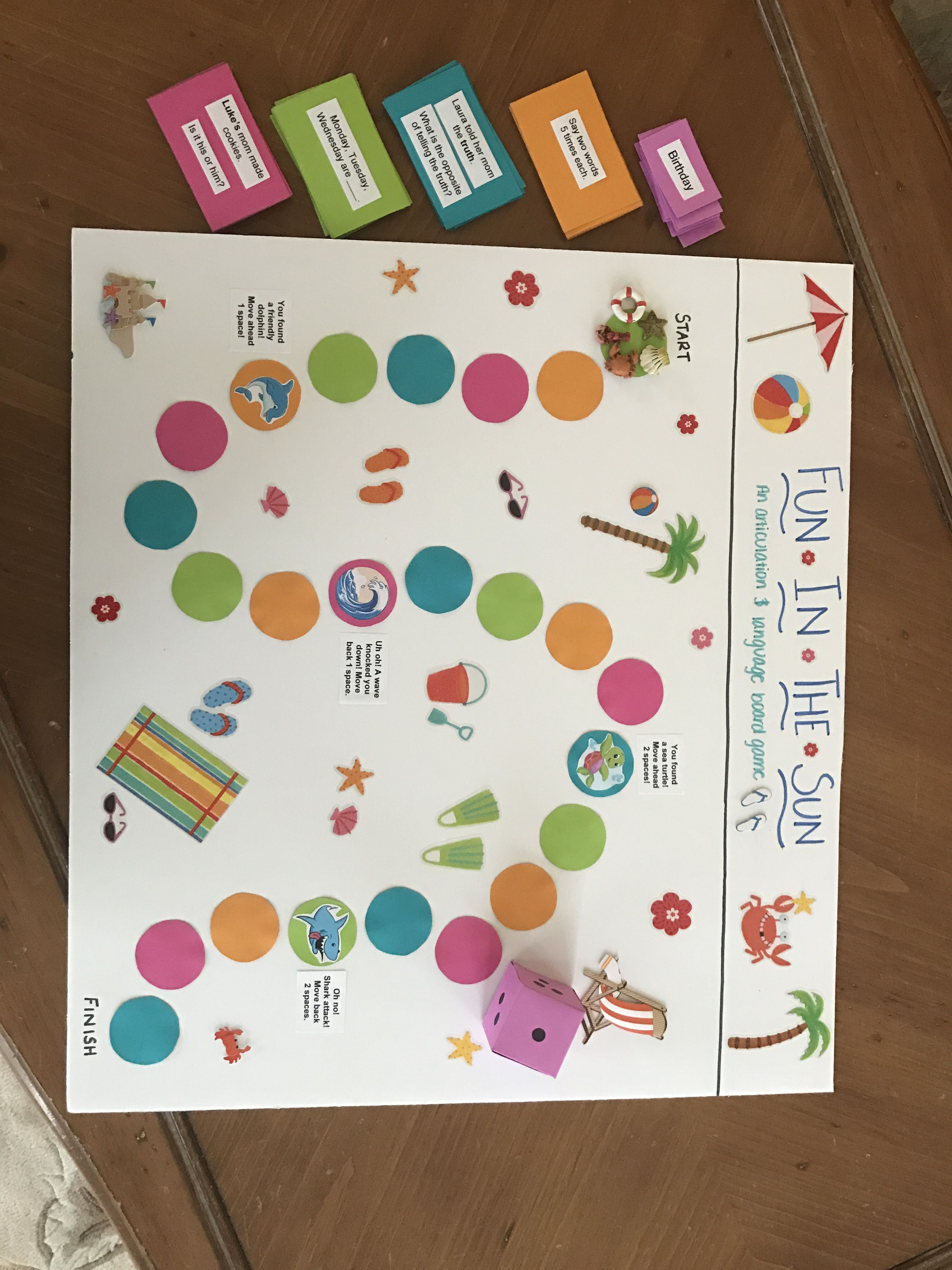 Jaclyn Spittler Fun In The Sun Board Game The Purpose Of This Game Is To Work On Artic Receptive Language Activities Language Activities Receptive Language
