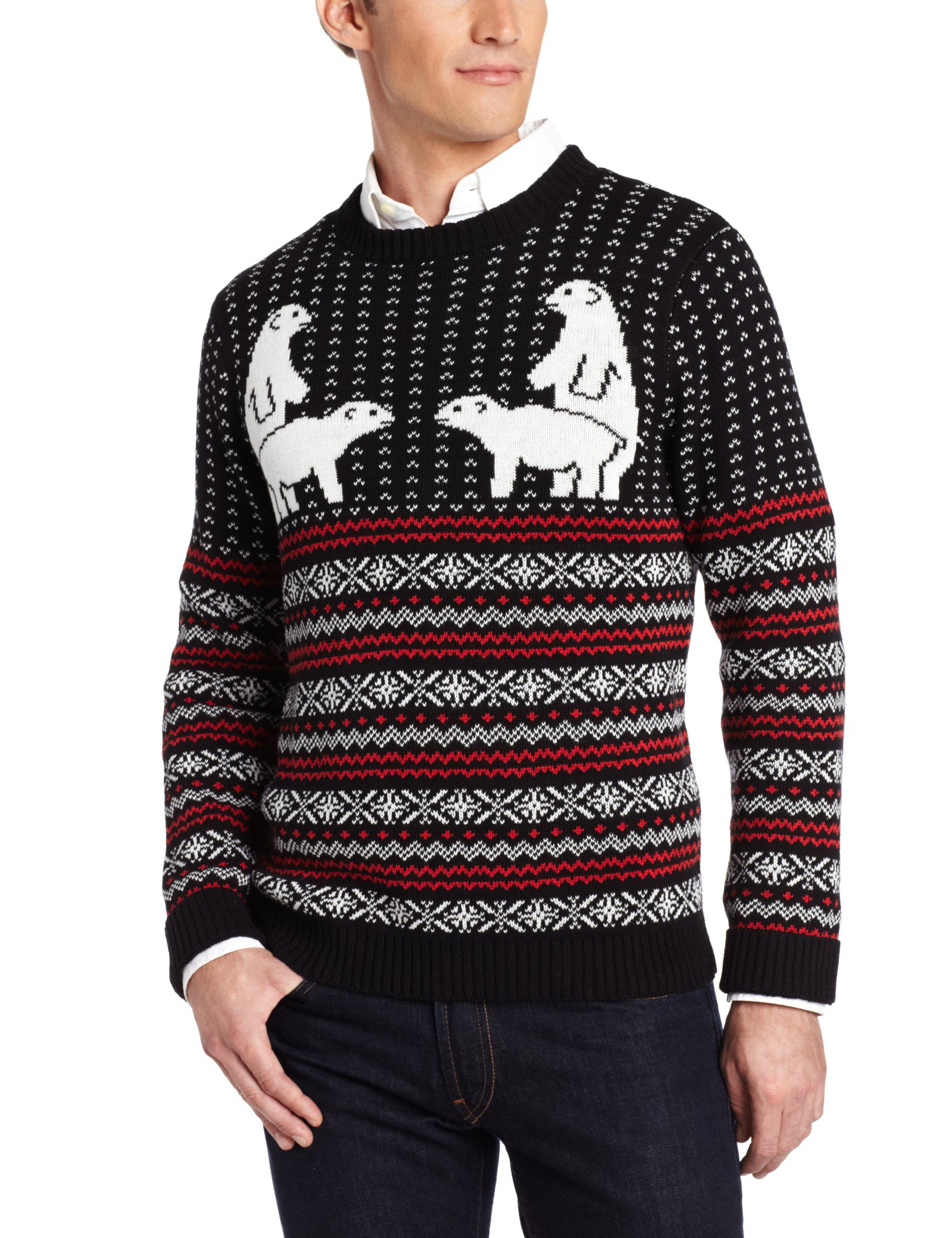 Alex Stevens Men's Polar Bear Pair Ugly Christmas Sweater at ...