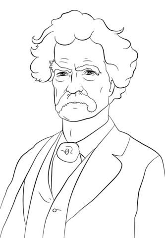 Mark Twain coloring page from Famous people category