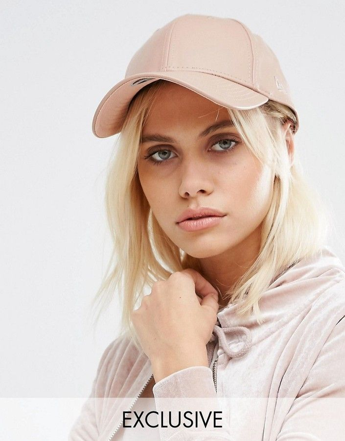 8017aed25df New Era Blush Pink 9Forty Leather Look Cap