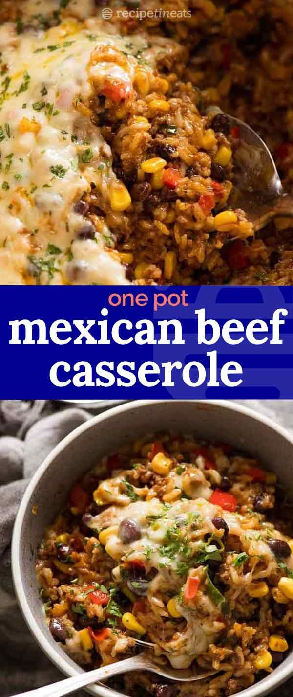 Mexican Ground Beef Casserole With Rice Beef Mince Recipe Ground Beef Recipes For Dinner Mince Recipes Beef Recipes For Dinner