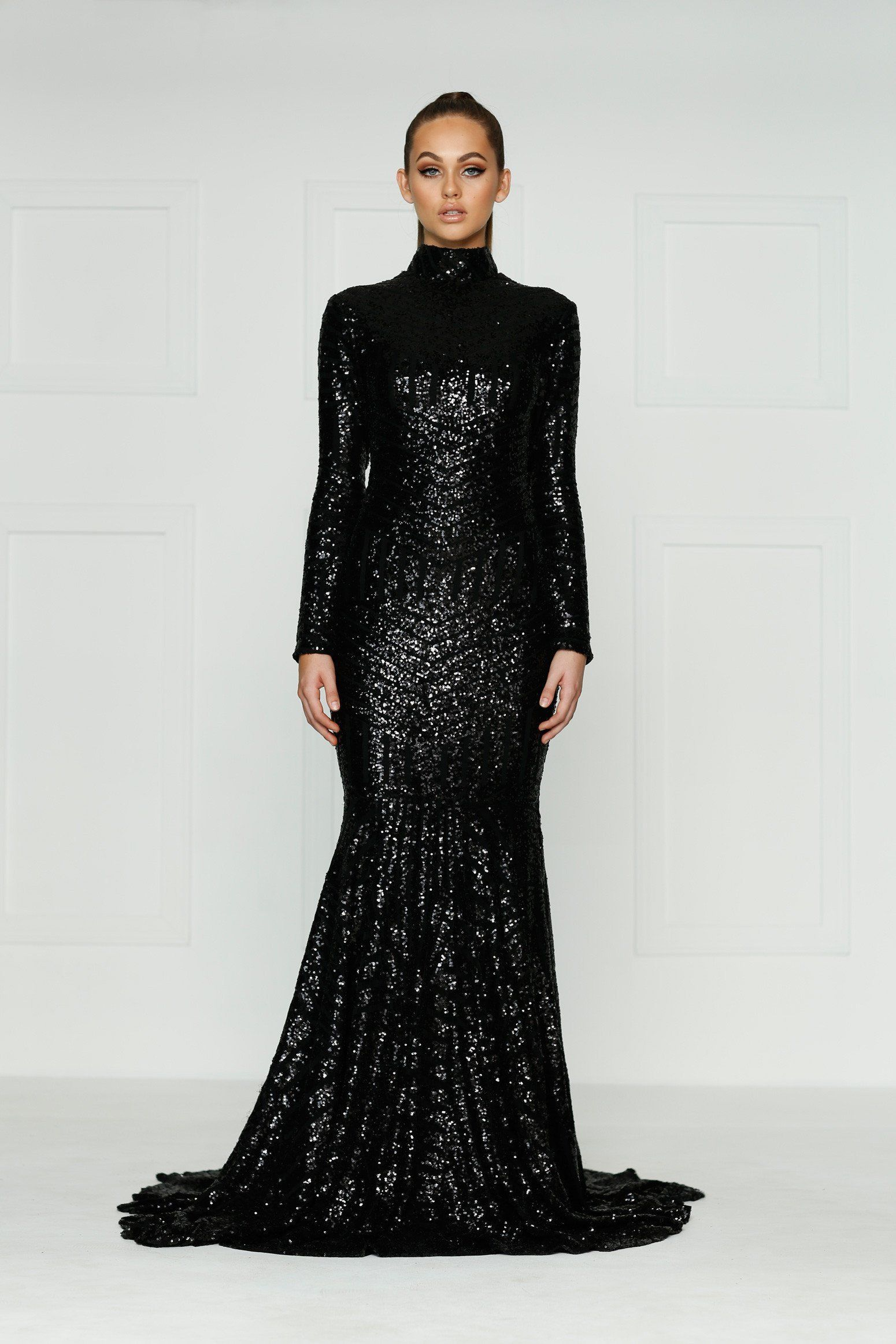 bc37fea9c5f Long Sleeve Black Sequin Prom Dress