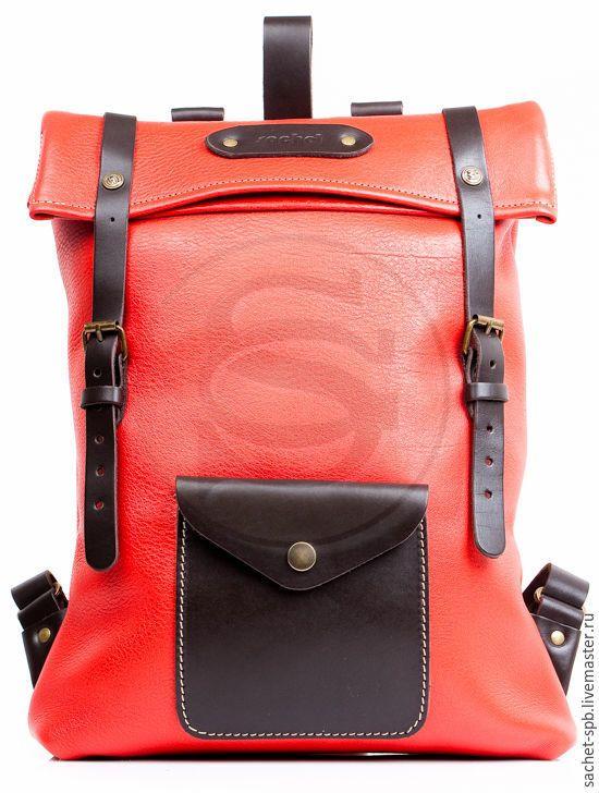 Купить или заказать Кожаный рюкзак Vogue красный в интернет-магазине на Ярмарке  Мастеров. Кожаный рюкзак из мягкой толстой прочной кожи. 95bcdcafeb3