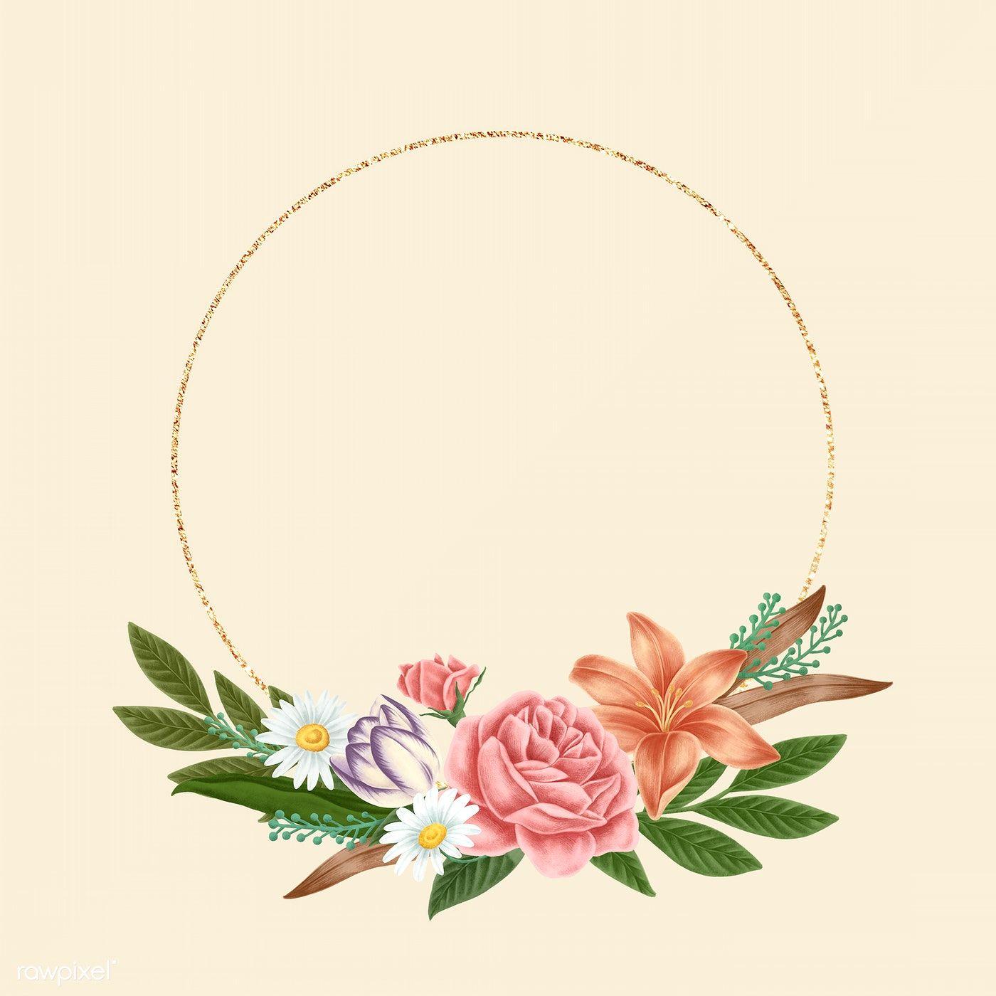 Download Premium Illustration Of Floral Frame Template Design Illustration In 2020 Flower Logo Design Flower Frame Floral Border Design
