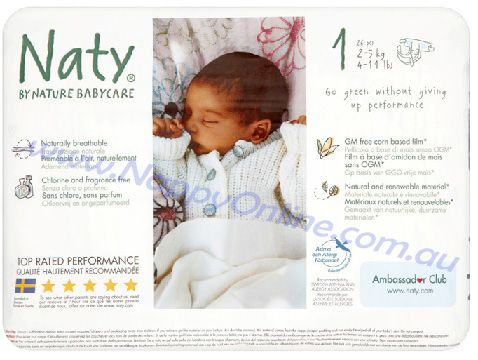Naty Nappies Size 1 (2-5kg) 26s  Nappies for sensitive butts