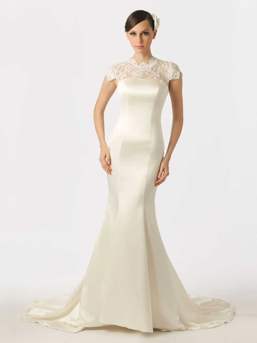 Lace cap sleeved featured satin mermaid wedding dress with buttons