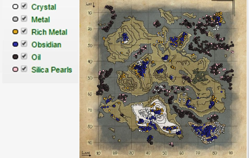 ark valhalla map, valhalla cave locations, oil and metal patches