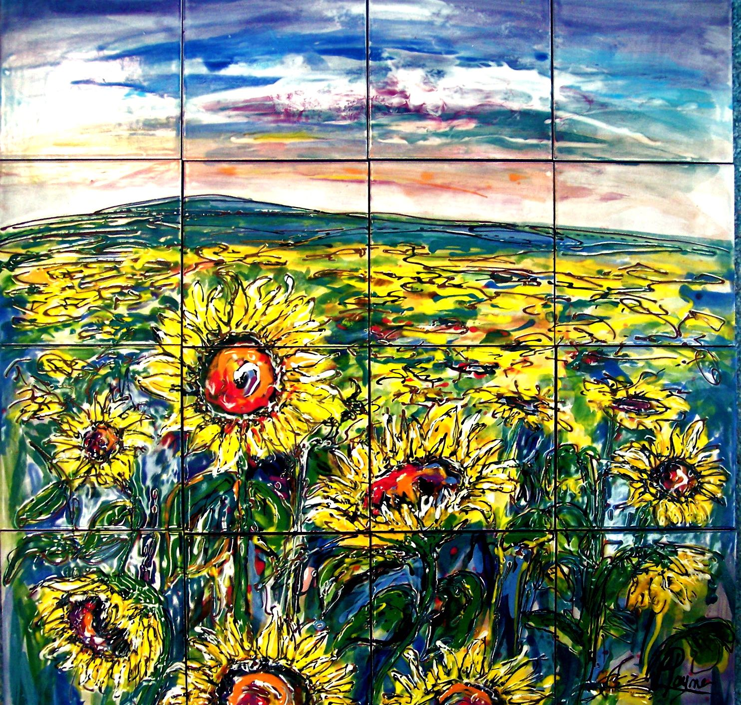 Carolyn Payne Murals Hand Painted Tile Mural Sunflower Field Ceramic