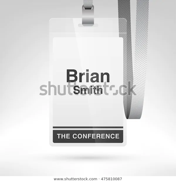 Conference badge with name tag placeholder. Blank badge