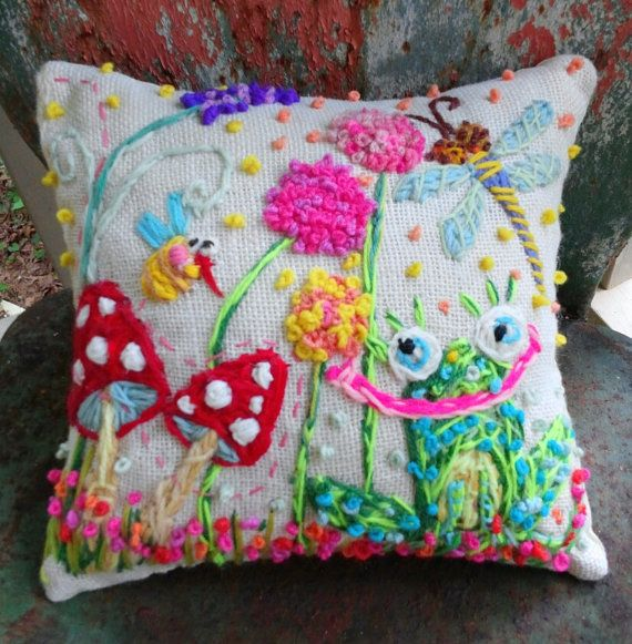Froggy Garden Original Freehand Embroidered Pillow by YelliKelli