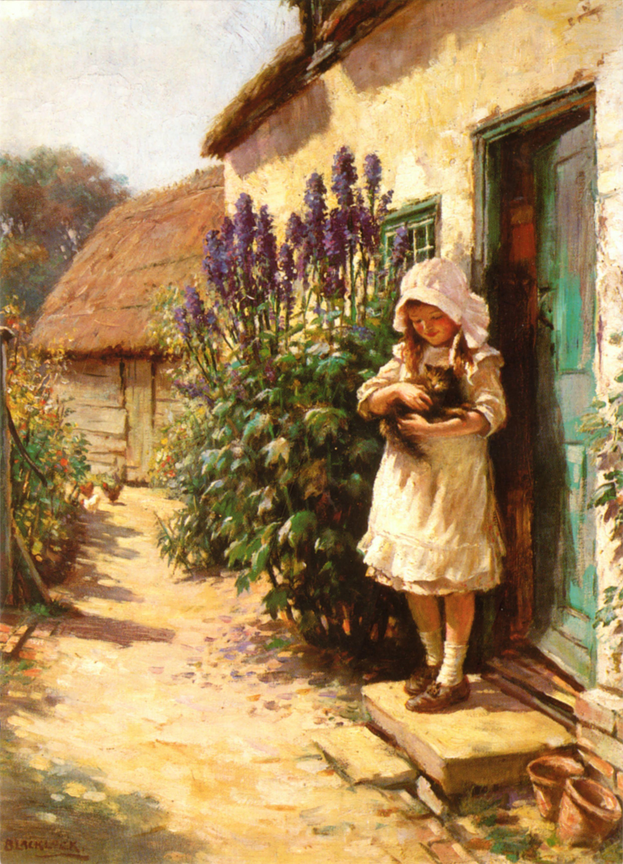 The Cottage Door By William Kay Blacklock 1872 1924 Cottage Art Art Art Painting