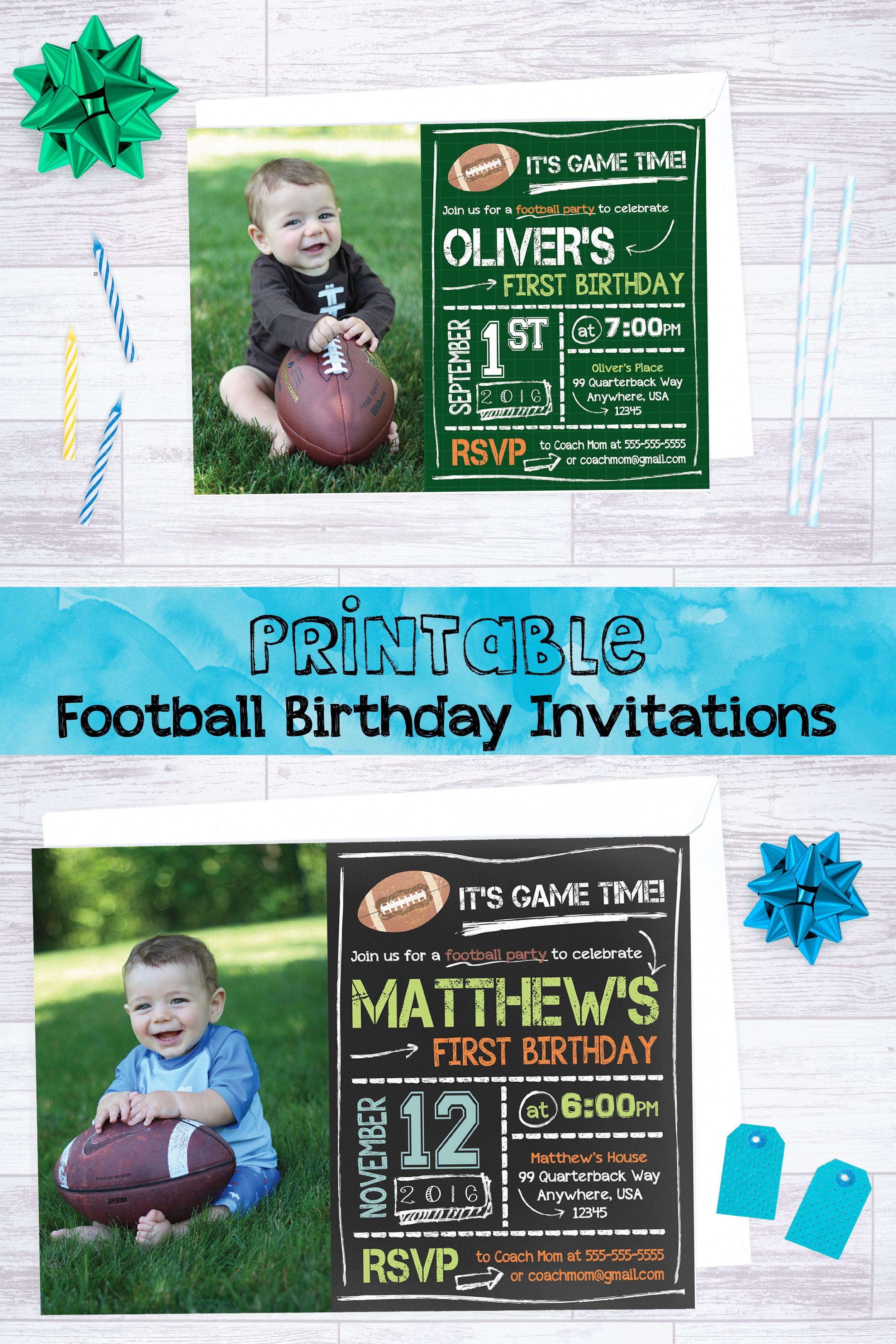 Football Invitation, Printable Football Party Invite, Personalized ...