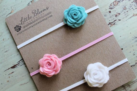Felt Flower Headbands - felt posies on skinny elastic headbands - newborn - baby - toddler - child #feltflowerheadbands Felt Flower Headbands - pick 3 colors - little felt posies on skinny elastic headbands - newborn - baby - toddler - child on Etsy, $10.00 #feltflowerheadbands