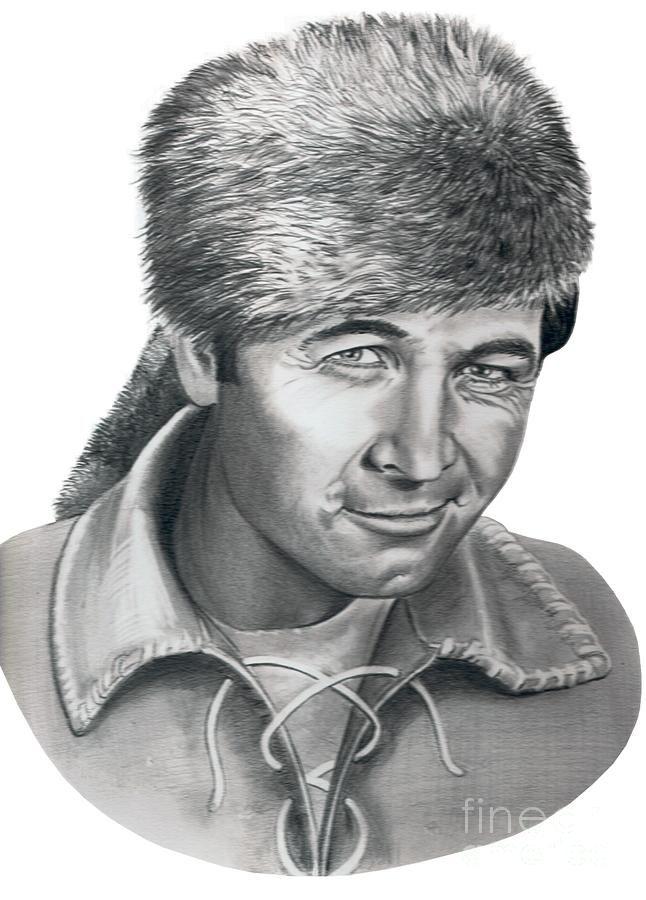 Daniel Boone ~ Fess Parker by Murphy Elliott ~ traditional pencil art