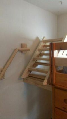 My Dad Made Fold Up Stairs Ladder For Erik S Bunk Bed So He Cant Play On The Bed During The Day And It Also Loft Stairs Tiny House Stairs Stairs In Living