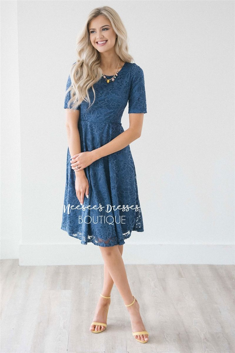 Dusty navy lace modest dress modest bridesmaids dresses with