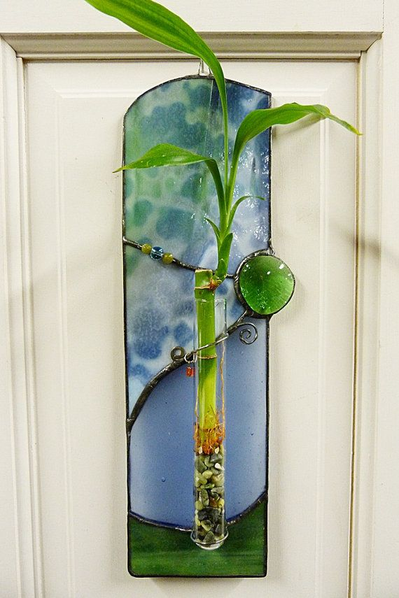 Beautiful Blues Lucky Bamboo Stained Glass Panel Projects To Try