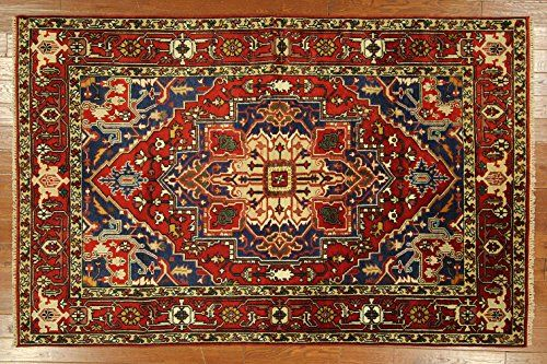 Traditional 6x9 Barn Red Heriz Serapi Hand Knotted Wool Oriental Area Rug H6459 UN Rug http://www.amazon.com/dp/B00R1T0E0Y/ref=cm_sw_r_pi_dp_Couqvb1PP1TK0